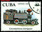 Vintage  Postage Stamp.  Antique  Locomotive  2-4-2.