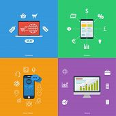 Set of flat design icons - Business, Finance, Commerce, Social Media