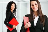 Two businesswomen in an office