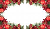 frame from red and green christmas decorations isolated on white background