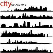 pic of city silhouette  - vector set of different style city silhouettes - JPG
