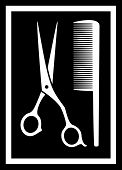 scissors with comb - icon for barbershop