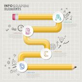 Creative Template Infographic With Yellow Curved Pencil Flow Chart
