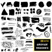 Vector set of grunge brush strokes.  Monochrome