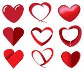 Red Hearts In Unique Designs