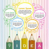 Creative Template Infographic With Colorful Pencils Drawing Lines