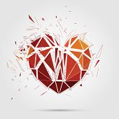 Abstract broken heart. 3d Vector illustration.