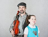 Celtic Folk Performer With Child