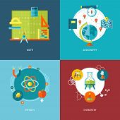 Set of flat design concepts school subjects icons.