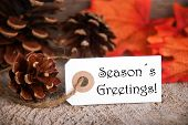 Autumn Label With Seasons Greetings