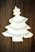 Christmas Tree Cookie On Wood