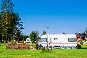 stock photo of trailer park  - Modern luxury mobile homes in a caravan park - JPG