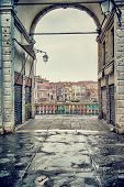 Rialto bridge, Venice, Italy, ancient European architecture, touristic city, grunge style photo, fam