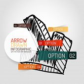 Vector hand drawn arrow design and infographic option stickers, business info diagram