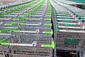 Rows Of A Plurality Of Shopping Trolleys