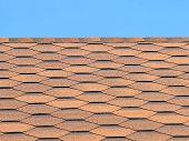 Bituminous Tiles Roof Taken Closeup.