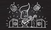 Illustration of chalked character with guitar