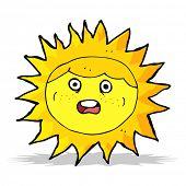 cartoon frightened sun