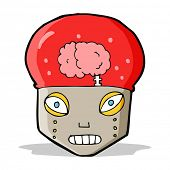 cartoon robot head with brain