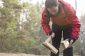 Male hiker cutting firewood in forest