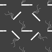 Smoking sign. cigarette. flat design. Seamless gray pattern.