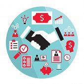 Flat Business Elements Handshake Partnership Concept Etc