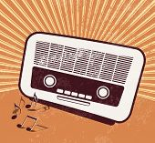 Old radio - retro style - music poster design