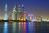 Cityscape of Dubai at night, United Arab Emirates