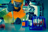 foto of scientist  - Laboratory test of Ebola virus - JPG