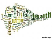 Vector eps concept or conceptual 3D abstract health word cloud or word cloud on white background