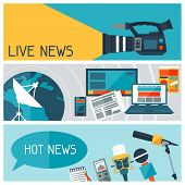 stock photo of mass media  - Banners with journalism icons - JPG