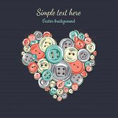 valentine's card of heart of the sewing buttons