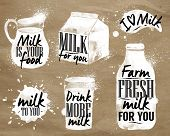 stock photo of milk  - Milk symbolic drawing milk with drops and sprays lettering - JPG