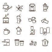 Outline Brown Simple Coffee Icons Set Eps10