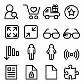 Web menu navigation line icons set - shopping, document