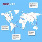 World map with infographic elements. Vector illustration