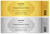 Luxury Golden And Silver Theater Ticket With Vintage Pattern