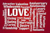 Love word cloud on red background