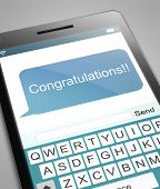 pic of congratulations  - Illustration depicting a phone with a congratulations concept - JPG