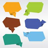 Collection of origami speech bubble vector.