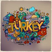Turkey hand lettering and doodles elements background. Vector il