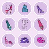 Fashion collection  ladies bags and shoes.