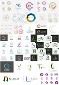 Set of various universal company logos - letters, business symbols, loops, concepts, arrows, infinity