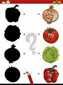 stock photo of brain-teaser  - Cartoon Illustration of Education Shadow Matching Game for Preschool Children - JPG