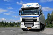 White DAF XF105 Semi Truck Parked In Summer