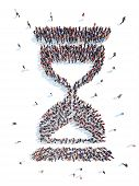 image of hourglass figure  - A large group of people in an hourglass shape - JPG