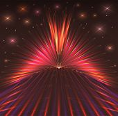 Abstract Background With Bursts Of Laser Rays, Starry Sky. Dark Background With Glowing Effects