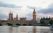 Big Ben and houses of Parliament in sunset