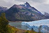 Colossal Perito Moreno glacier in Lake Argentino. Los Glaciares National Park in Patagonia. Wintry summer day