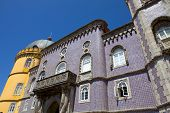 Detail of Pena palace, in the village of Sintra, Lisbon, Portugal